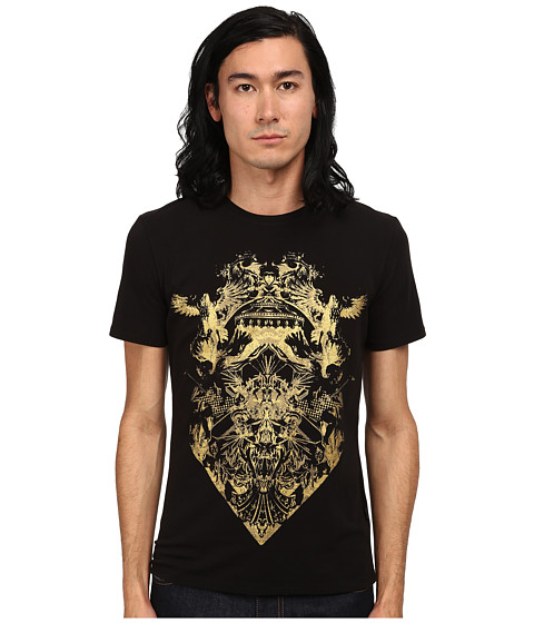 Imbracaminte Barbati Just Cavalli Short Sleeve Gold Graphic Super Slim Fit Tee Black
