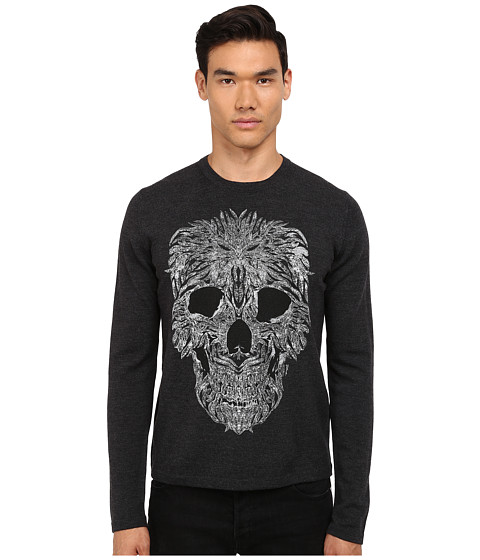 Imbracaminte Barbati Just Cavalli Long Sleeve Crew Neck Skull Design Sweater Grey Melange
