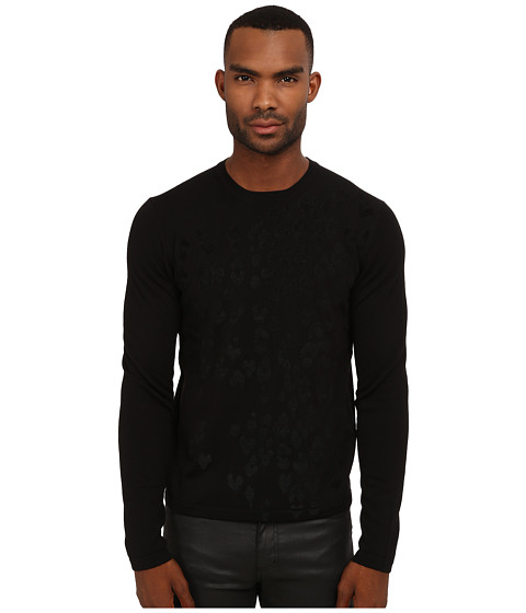 Imbracaminte Barbati Just Cavalli Long Sleeve Crew Neck Flocked Leopard Sweater Black