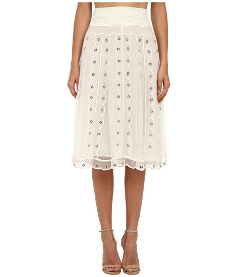 Imbracaminte Femei Red Valentino Silk Organza Tulle Skirt w Eyelet and Polka Dots Avorio