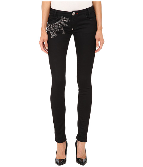 Imbracaminte Femei Philipp Plein Super Slim Fit Jeans Black Caviar