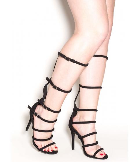 Incaltaminte Femei CheapChic All The Cage Strappy Gladiator Heels Black