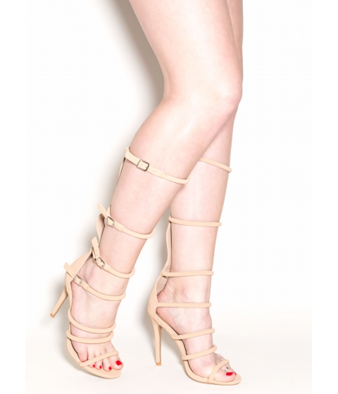 Incaltaminte Femei CheapChic All The Cage Strappy Gladiator Heels Taupe