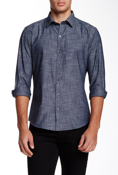 Imbracaminte Barbati Zachary Prell Piccurillo Long Sleeve Trim Fit Shirt NAVY