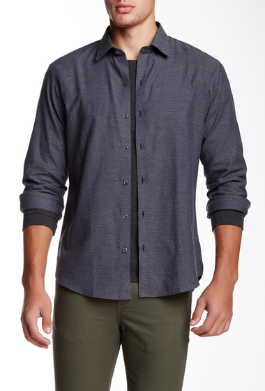 Imbracaminte Barbati Zachary Prell Brandon Long Sleeve Printed Trim Fit Shirt NAVY