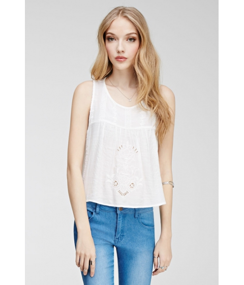 Imbracaminte Femei Forever21 Tulip Back Embroidered Top Cream