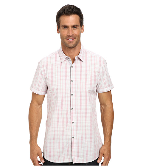 Imbracaminte Barbati Kenneth Cole Short Sleeve Glen Plaid Shirt Coral Reef