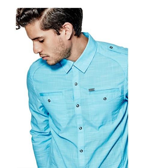 Imbracaminte Barbati GUESS Caber Chambray Shirt river blue