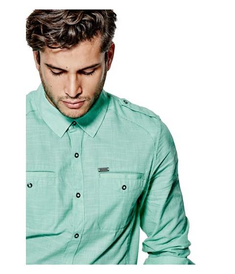 Imbracaminte Barbati GUESS Caber Chambray Shirt green pop