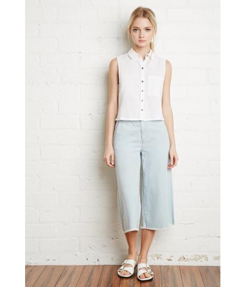 Imbracaminte Femei Forever21 Linen-Blend Pocket Shirt White