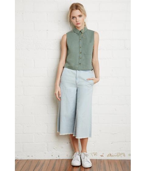Imbracaminte Femei Forever21 Linen-Blend Pocket Shirt Green