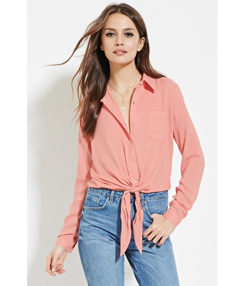 Imbracaminte Femei Forever21 Contemporary Knot-Front Shirt Pink