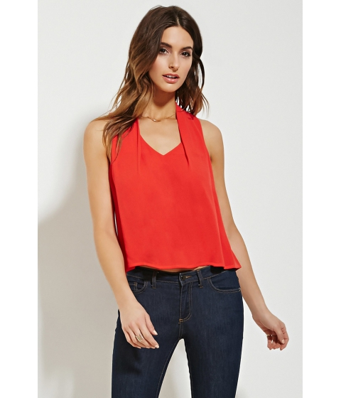 Imbracaminte Femei Forever21 Contemporary Pleat-Shoulder Top Tomato