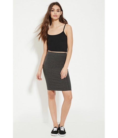 Imbracaminte Femei Forever21 Cotton-Blend Pencil Skirt Charcoal heather