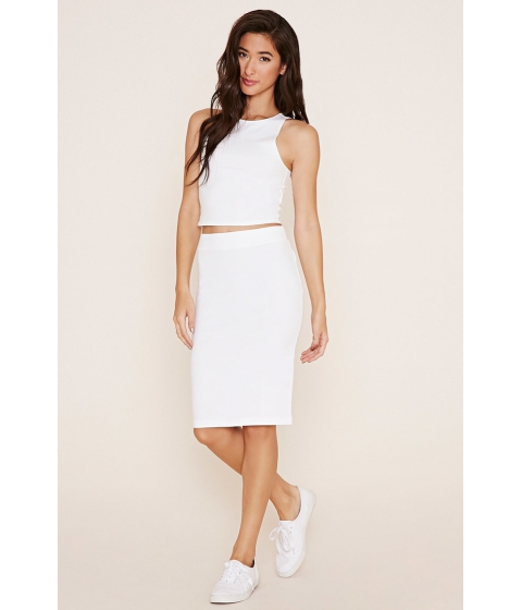 Imbracaminte Femei Forever21 Cotton-Blend Pencil Skirt White