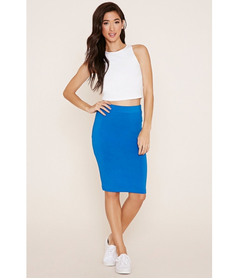 Imbracaminte Femei Forever21 Cotton-Blend Pencil Skirt Imperial blue