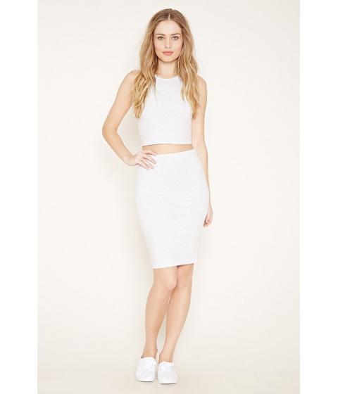 Imbracaminte Femei Forever21 Cotton-Blend Pencil Skirt Silver