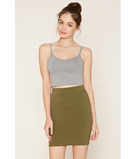 Imbracaminte Femei Forever21 Cotton-Blend Pencil Skirt Olive