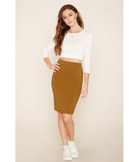 Imbracaminte Femei Forever21 Cotton-Blend Pencil Skirt Sunset gold
