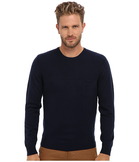 Imbracaminte Barbati Culture Phit 100 Merino Ribbed Yoked Crew Sweater Navy