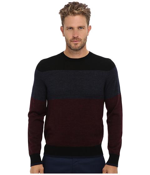 Imbracaminte Barbati Culture Phit 100 Merino Color Block Crew Sweater Wine Marl Combo