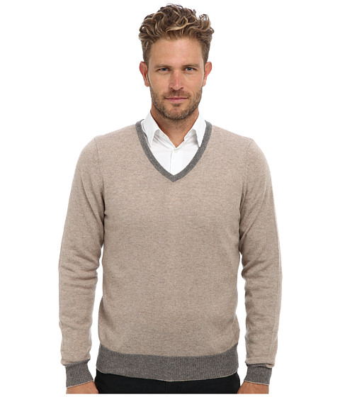 Imbracaminte Barbati Culture Phit 100 Cashmere David V-Neck Sweater Cobblestone Combo