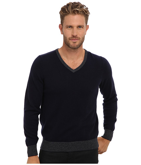 Imbracaminte Barbati Culture Phit 100 Cashmere David V-Neck Sweater Navy Combo