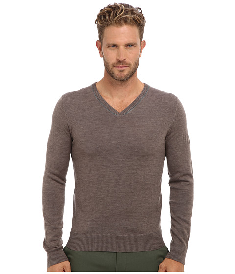 Imbracaminte Barbati Culture Phit 100 Merino Skipper V-Neck Sweater Taupe Combo