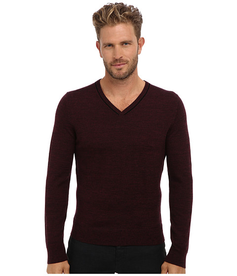 Imbracaminte Barbati Culture Phit 100 Merino Skipper V-Neck Sweater Wine Marl Combo