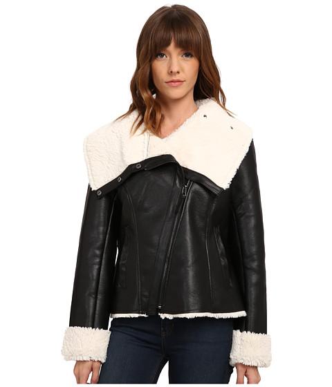 Imbracaminte Femei Steve Madden Asymetric Zip PU Shearling Jacket Black