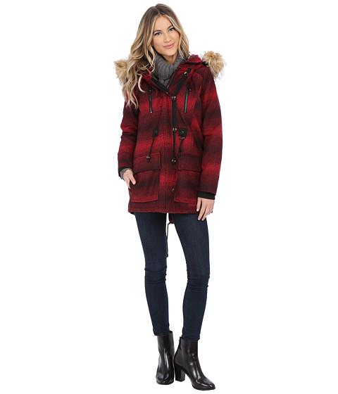 Imbracaminte Femei Steve Madden Wool Blend Parka Red Stripe