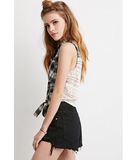 Imbracaminte Femei Forever21 Crocheted Plaid Self-Tie Shirt Creamblack