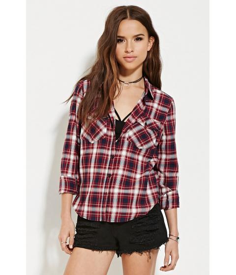 Imbracaminte Femei Forever21 Tartan Plaid Shirt Dark navyred