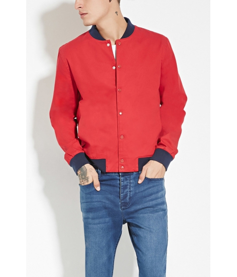 Imbracaminte Femei Forever21 Cotton Bomber Jacket Red