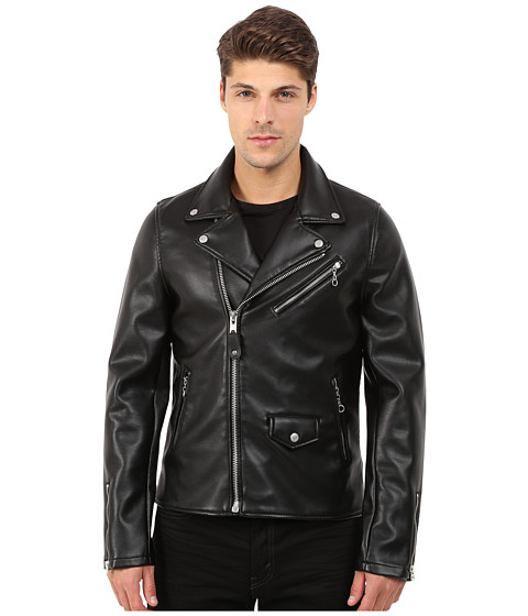 Imbracaminte Barbati Members Only Authentic Biker Jacket in Stretch Neoprene Black