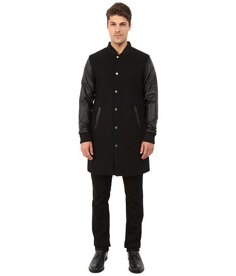 Imbracaminte Barbati Members Only Top Coat Length Varsity Jacket w Faux Leather Sleeves Black