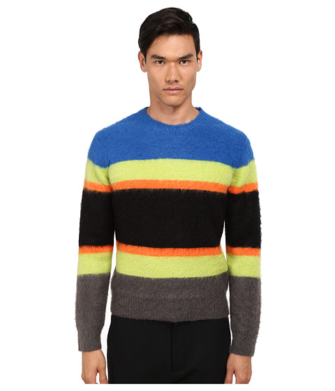 Imbracaminte Barbati Marc by Marc Jacobs Fuzzy Stripe Sweater Palace Blue Mutli