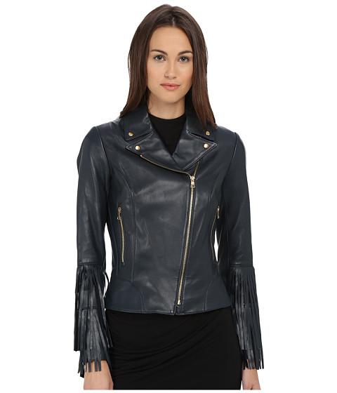 Imbracaminte Femei ZAC Zac Posen Willow Leather Fringe Jacket Petrol