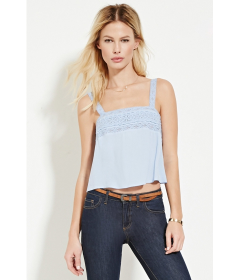 Imbracaminte Femei Forever21 Lace-Trimmed Top Light blue