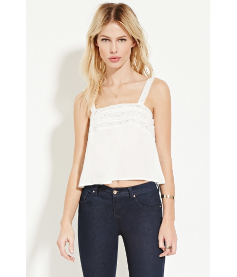 Imbracaminte Femei Forever21 Lace-Trimmed Top Ivory