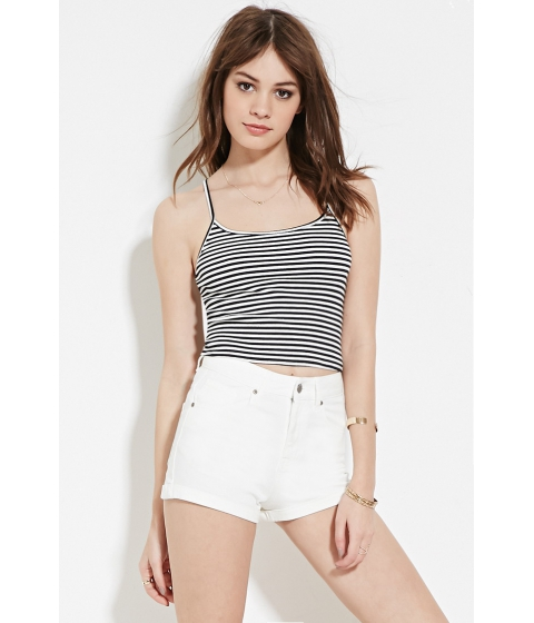 Imbracaminte Femei Forever21 High Rise Cuffed Denim Shorts White