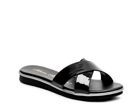 Incaltaminte Femei Athena Alexander Tempo Patent Wedge Sandal Black