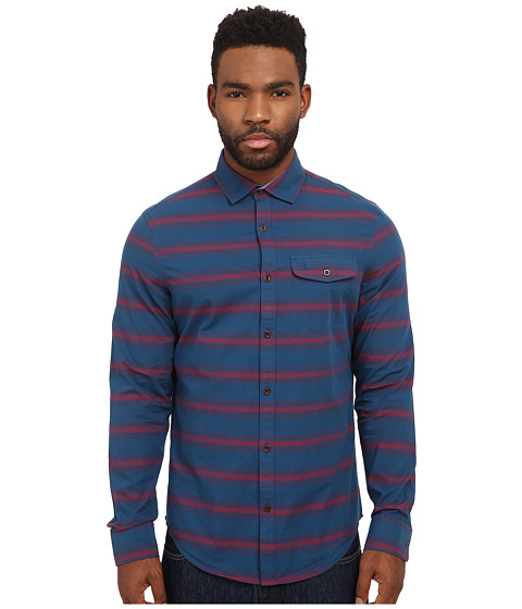 Imbracaminte Barbati Original Penguin P55 Horizontal Stripe Long Sleeve Woven Heritage Shirt Poseidon Blue