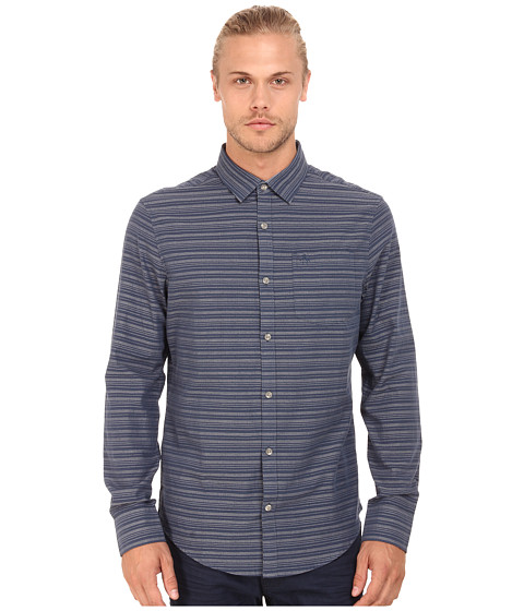 Imbracaminte Barbati Original Penguin Dobby W Horizontal Striped Long Sleeve Woven Heritage Shirt Dark Denim
