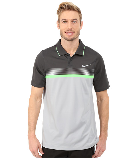 Imbracaminte Barbati Nike Momentum Stripe Polo Wolf GreyAnthraciteGreen StrikeReflective Silver