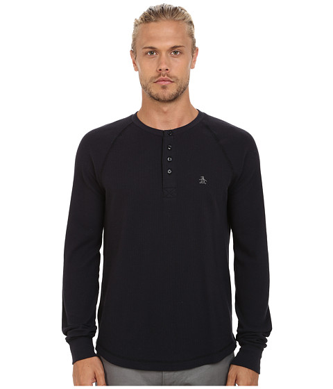 Imbracaminte Barbati Original Penguin Long Sleeve Worrell Waffle Henley True Black