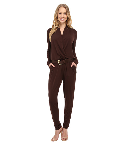 Imbracaminte Femei MICHAEL Michael Kors Belted Jumpsuit Chocolate