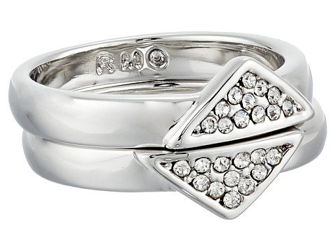 Bijuterii Femei Rebecca Minkoff Set of Two Triangle Band Ring RhodiumCrystal