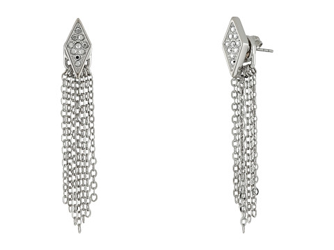 Bijuterii Femei Rebecca Minkoff Diamond Pave Fringe Front to Back Earrings Imitation RhodiumCrystal Lab