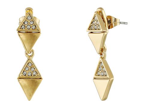 Bijuterii Femei Rebecca Minkoff Triangle Drop Front to Back Earrings Gold TonedCrystal